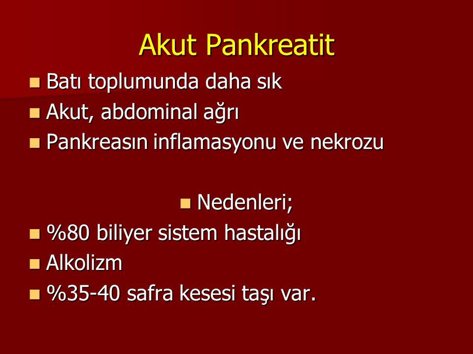 Akut Pankreatit Batı toplumunda daha sık Batı toplumunda daha sık Akut, abdominal ağrı Akut, abdominal ağrı Pankreasın inflamasyonu ve nekrozu Pankrea