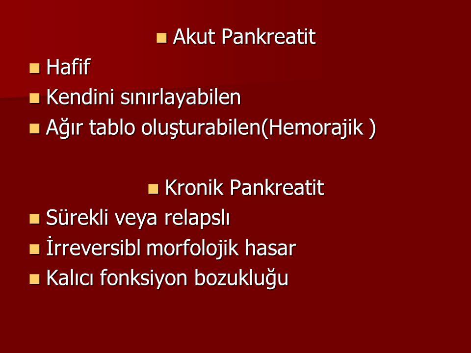 Kronik Pankreatit Tekrarlayan asemptomatik veya hafif semptomlu akut pankreatit ataklarıyla destrüksüyona uğrayan pankreas dokusunda gelişir.
