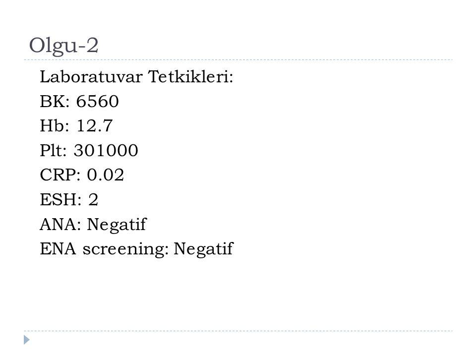 Olgu-2 Laboratuvar Tetkikleri: BK: 6560 Hb: 12.7 Plt: 301000 CRP: 0.02 ESH: 2 ANA: Negatif ENA screening: Negatif