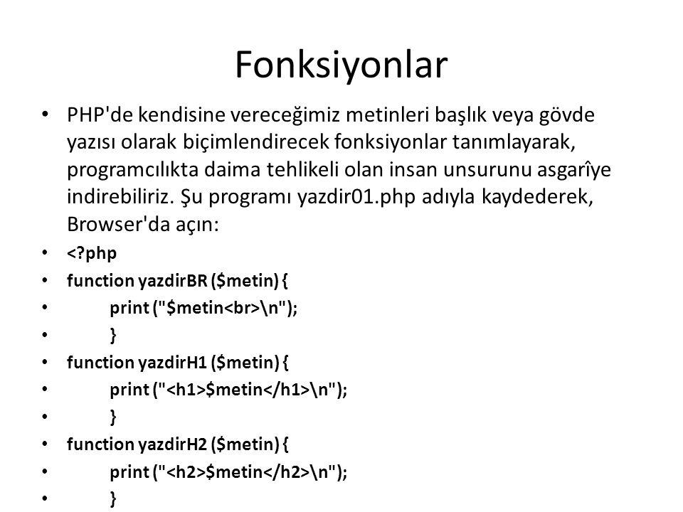 Fonksiyonlar PHP'de kendisine vereceğimiz metinleri başlık veya gövde yazısı olarak biçimlendirecek fonksiyonlar tanımlayarak, programcılıkta daima te