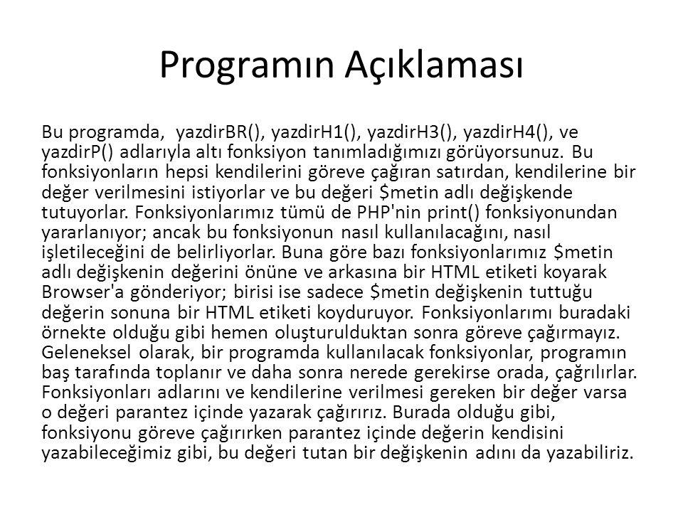 Programın Açıklaması Bu programda, yazdirBR(), yazdirH1(), yazdirH3(), yazdirH4(), ve yazdirP() adlarıyla altı fonksiyon tanımladığımızı görüyorsunuz.