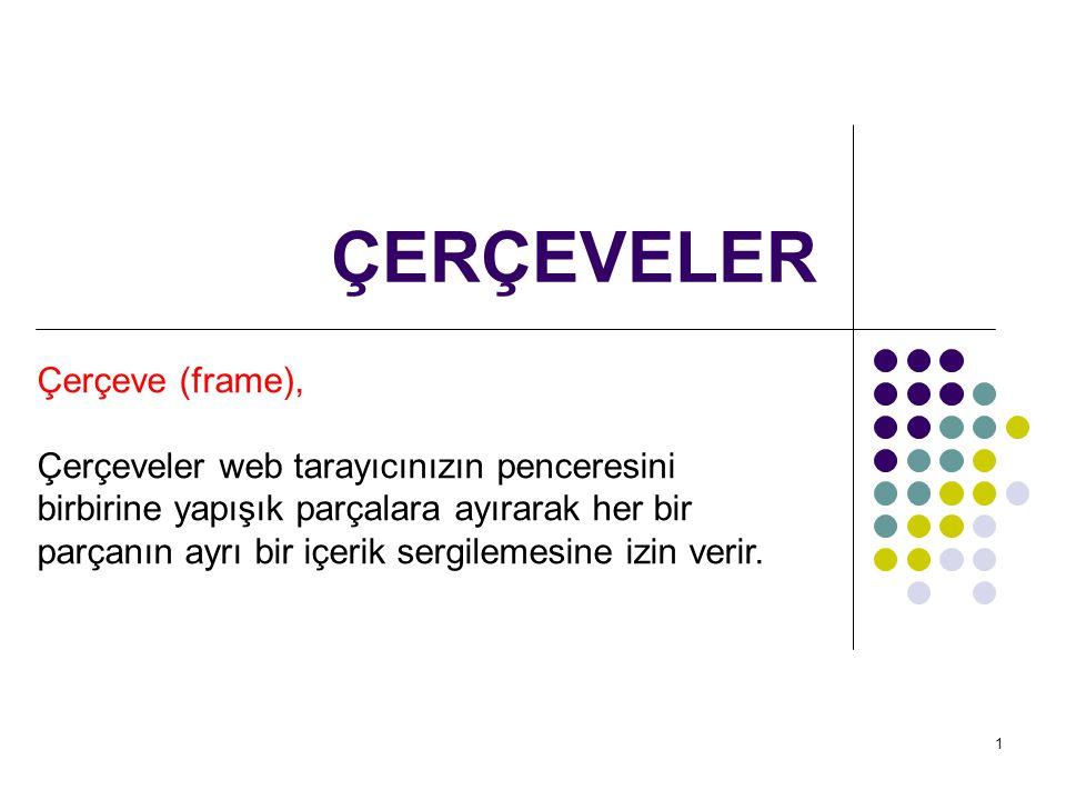 1 ÇERÇEVELER Çerçeve (frame), Çerçeveler web tarayıcınızın penceresini birbirine yapışık parçalara ayırarak her bir parçanın ayrı bir içerik sergileme