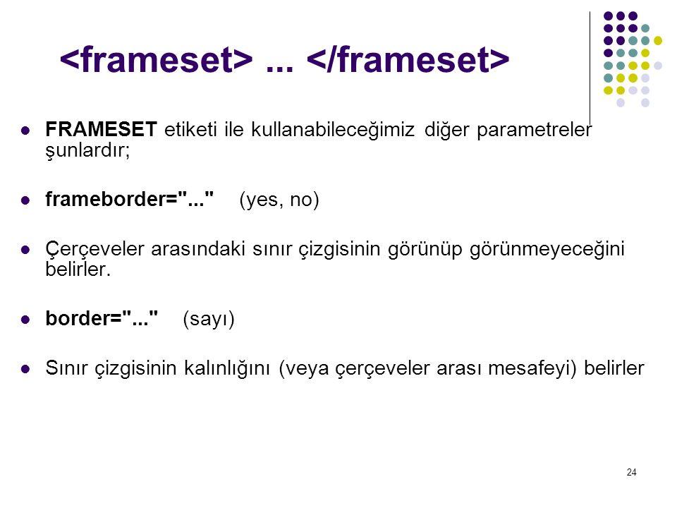 24... FRAMESET etiketi ile kullanabileceğimiz diğer parametreler şunlardır; frameborder=