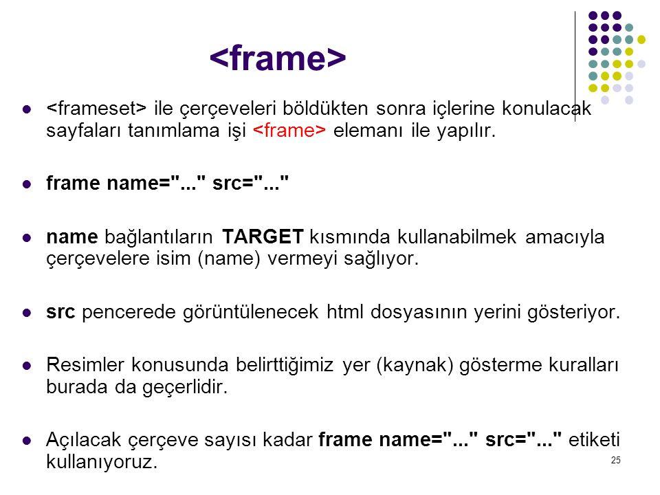 25 ile çerçeveleri böldükten sonra içlerine konulacak sayfaları tanımlama işi elemanı ile yapılır. frame name=