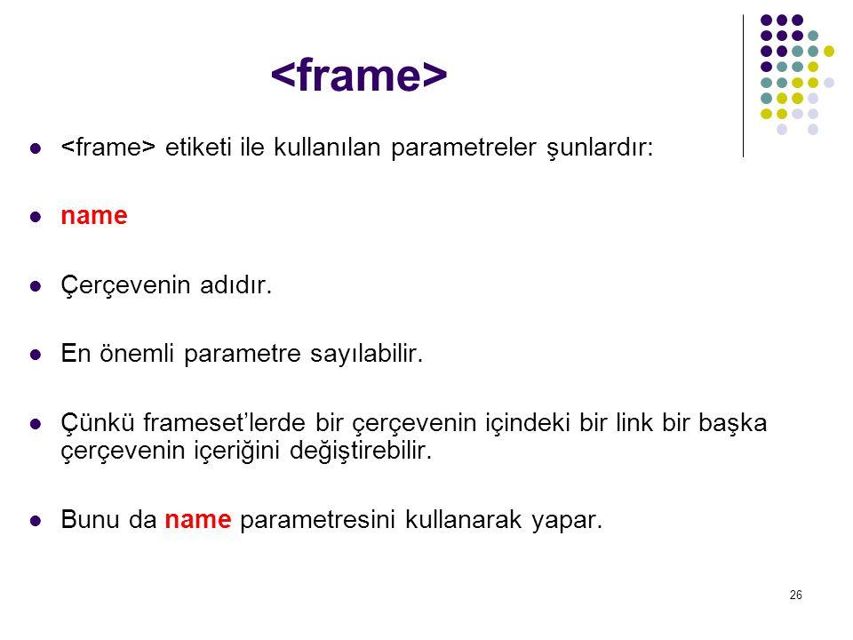 27 etiketi ile kullanılan parametreler şunlardır: src İçine yerleştirilecek dosyanın URL'sini belirtir.