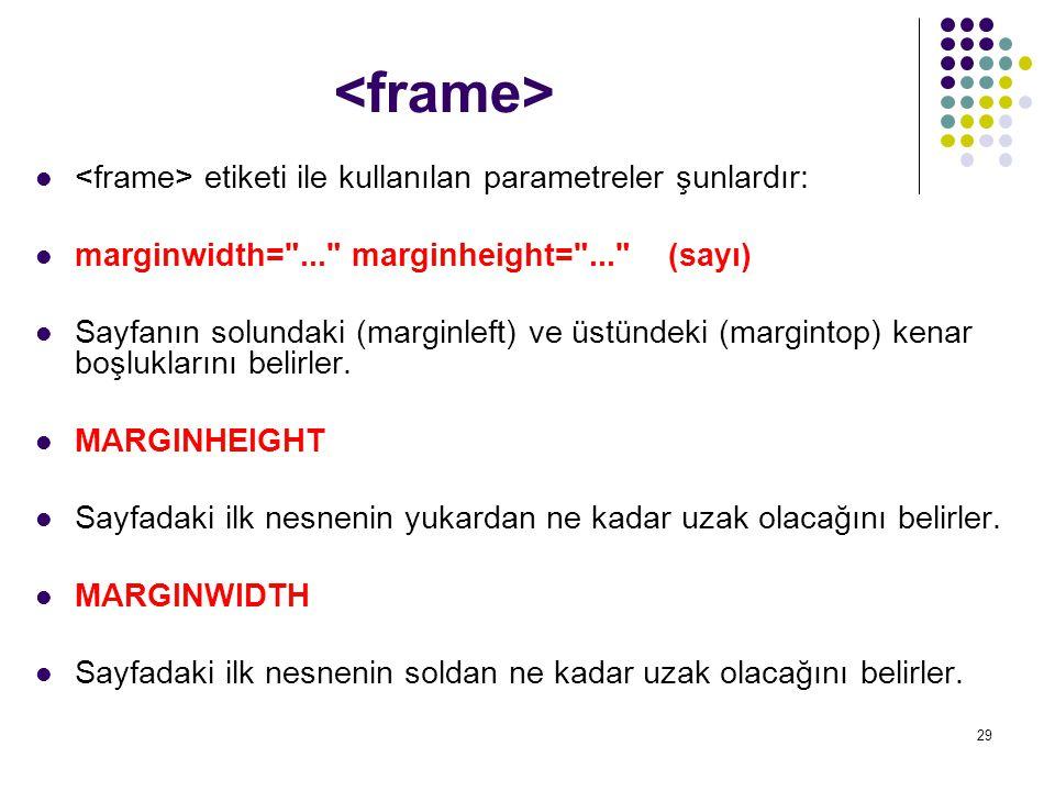 29 etiketi ile kullanılan parametreler şunlardır: marginwidth=