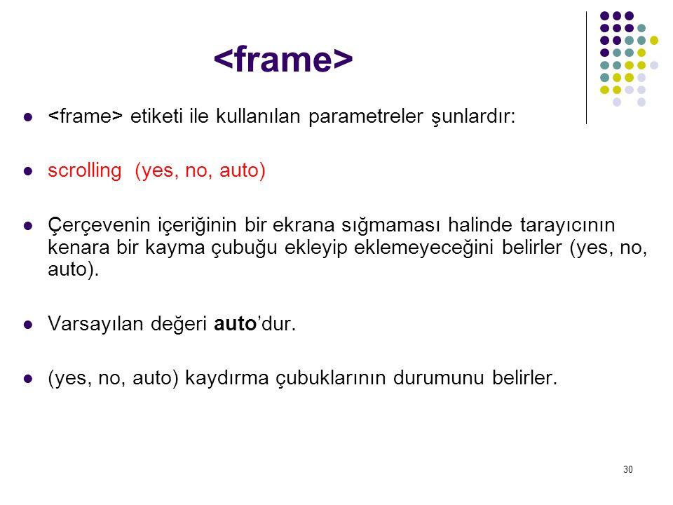 30 etiketi ile kullanılan parametreler şunlardır: scrolling (yes, no, auto) Çerçevenin içeriğinin bir ekrana sığmaması halinde tarayıcının kenara bir