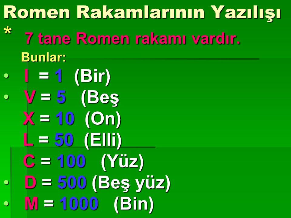 Romen Rakamlarının kullanıldığı yerler yerler : * G Günümüzde Romen rakamları: * Saatlerde, * Tabelalarda, * Sokak ve cadde numaralarında, * Tarih yazarken kullanılır.