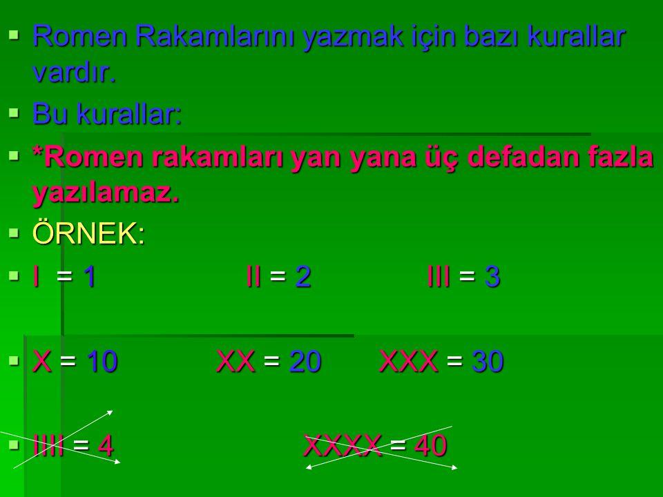  I = 1 II = 2III = 3 V = 4 V = 5VI = 6  V V V VII = 7 VIII = 8IX = 9  X = 10 XI = 11 XII = 12 XXXXIII =13 XIV =14 XV = 15 XXXXVI = 16 XV