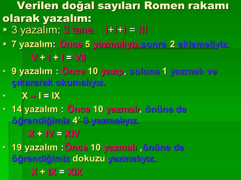 *Romen rakamlarının sağına kendisinden küçük rakam yazıldığında rakamlar toplanarak okunur. ÖÖÖÖRNEK: VII = 7  5 + 2 = 7 XVIII = 18 10 + 5 + 3 =