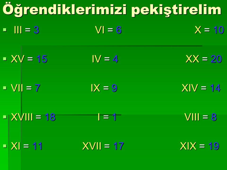 Verilen doğal sayıları Romen rakamı olarak yazalım: Verilen doğal sayıları Romen rakamı olarak yazalım: 3333 yazalım: 3 tane I+I+I = III 7777 yazalım: Önce 5 yazmalıyız,sonra 2 eklemeliyiz.