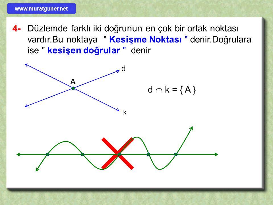  4-Düzlemde farklı iki doğrunun en çok bir ortak noktası vardır.Bu noktaya