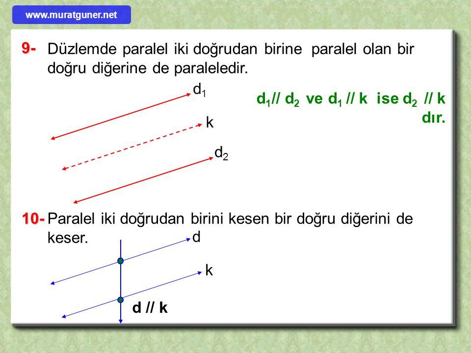 Düzlemde paralel iki doğrudan birine paralel olan bir doğru diğerine de paraleledir. d 1 // d 2 ve d 1 // k ise d 2 // k dır. 10-Paralel iki doğrudan