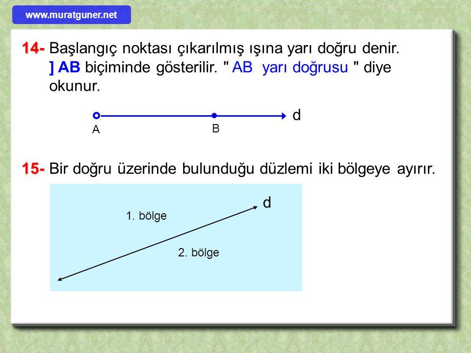 14-Başlangıç noktası çıkarılmış ışına yarı doğru denir. ] AB biçiminde gösterilir.