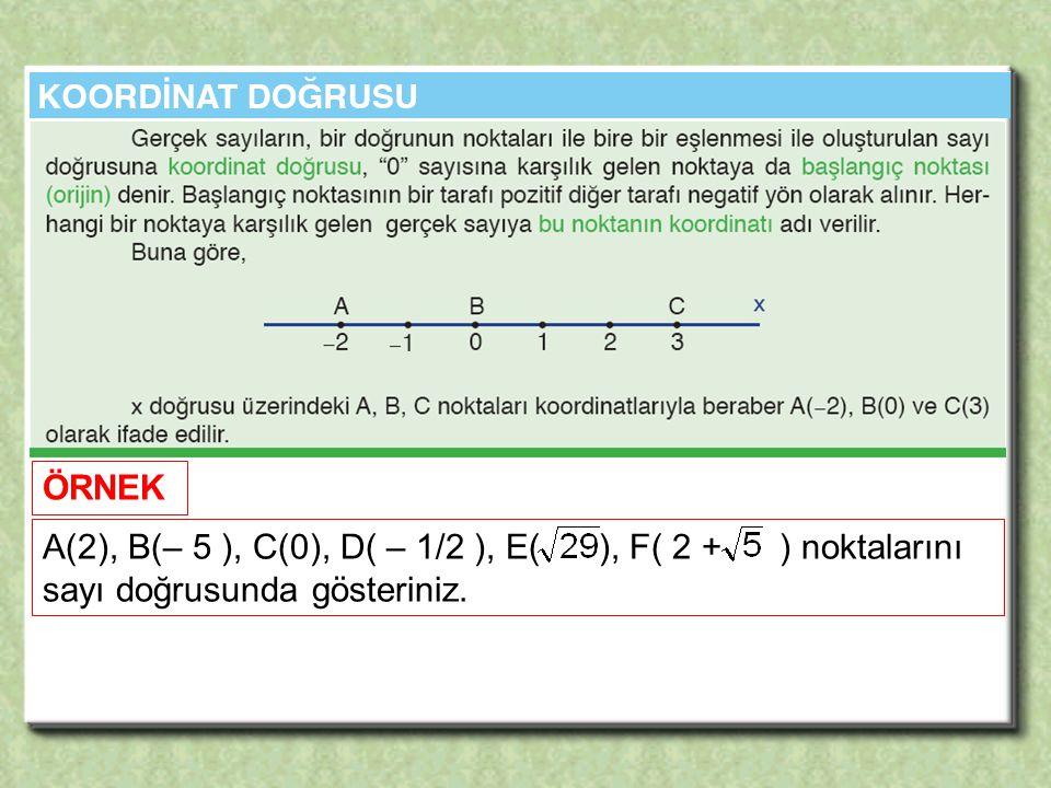 ÖRNEK A(2), B(– 5 ), C(0), D( – 1/2 ), E( ), F( 2 + ) noktalarını sayı doğrusunda gösteriniz.