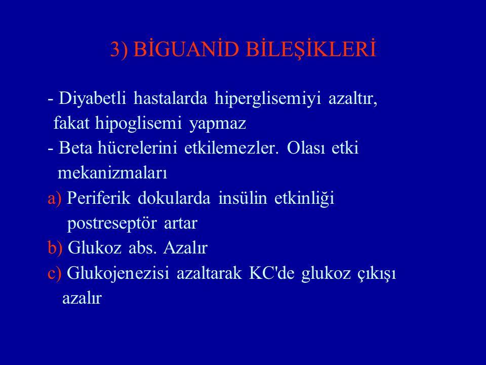 3) BİGUANİD BİLEŞİKLERİ - Diyabetli hastalarda hiperglisemiyi azaltır, fakat hipoglisemi yapmaz - Beta hücrelerini etkilemezler. Olası etki mekanizmal