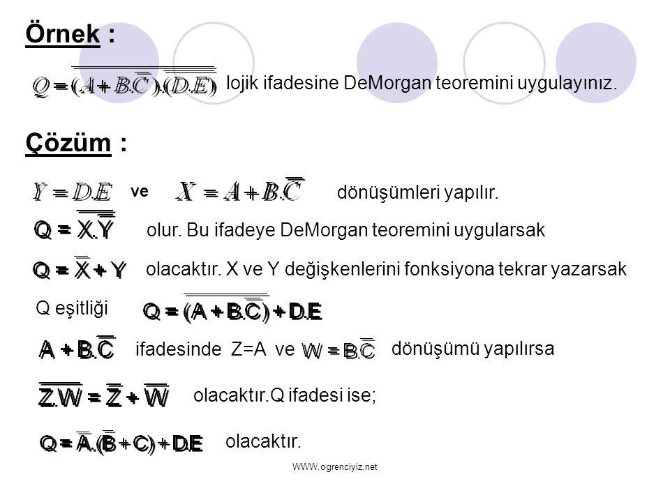 dönüşümleri yapılır. olur. Bu ifadeye DeMorgan teoremini uygularsak olacaktır. X ve Y değişkenlerini fonksiyona tekrar yazarsak olacaktır. Örnek : loj