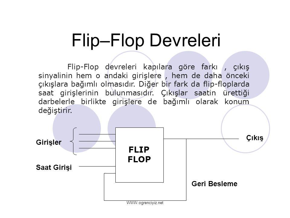 Flip–Flop Devreleri Flip-Flop devreleri kapılara göre farkı, çıkış sinyalinin hem o andaki girişlere, hem de daha önceki çıkışlara bağımlı olmasıdır.