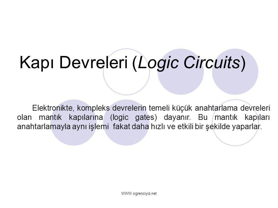 Kapı Devreleri (Logic Circuits) Elektronikte, kompleks devrelerin temeli küçük anahtarlama devreleri olan mantık kapılarına (logic gates) dayanır. Bu