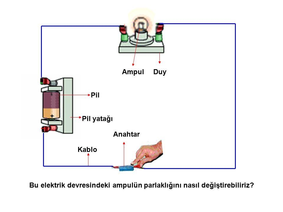Anahtar Bu elektrik devresindeki ampulün parlaklığını nasıl değiştirebiliriz? Ampul Pil Kablo Pil yatağı Duy
