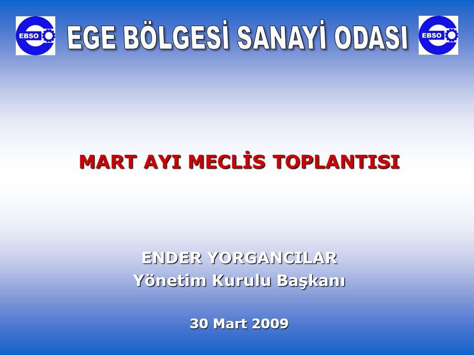 MART AYI MECLİS TOPLANTISI ENDER YORGANCILAR Yönetim Kurulu Başkanı 30 Mart 2009