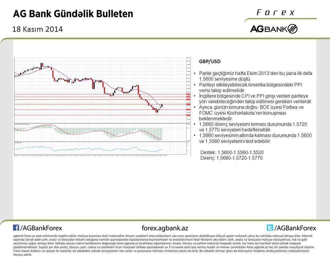 18 Kasım 2014 GBP/USD Parite geçtiğimiz hafta Ekim 2013'den bu yana ilk defa 1,5600 seviyesine düştü.