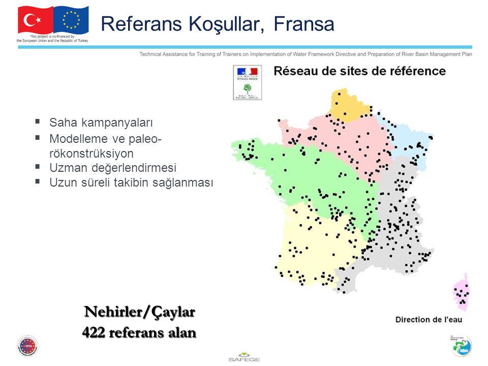 Referans Koşullar, Fransa  Saha kampanyaları  Modelleme ve paleo- rökonstrüksiyon  Uzman değerlendirmesi  Uzun süreli takibin sağlanması Nehirler/