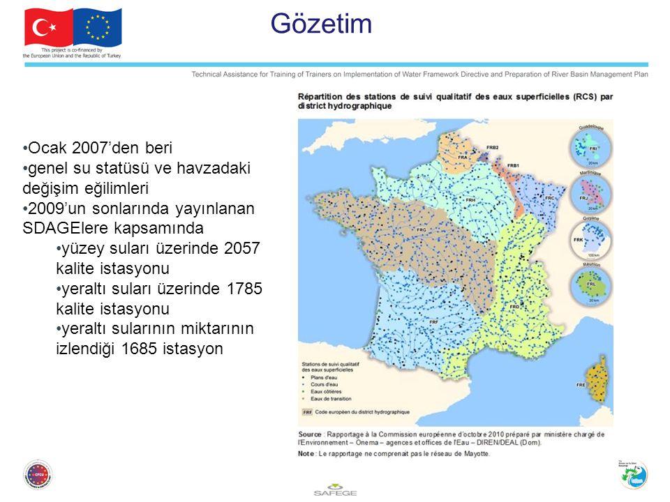 Gözetim Ocak 2007'den beri genel su statüsü ve havzadaki değişim eğilimleri 2009'un sonlarında yayınlanan SDAGElere kapsamında yüzey suları üzerinde 2