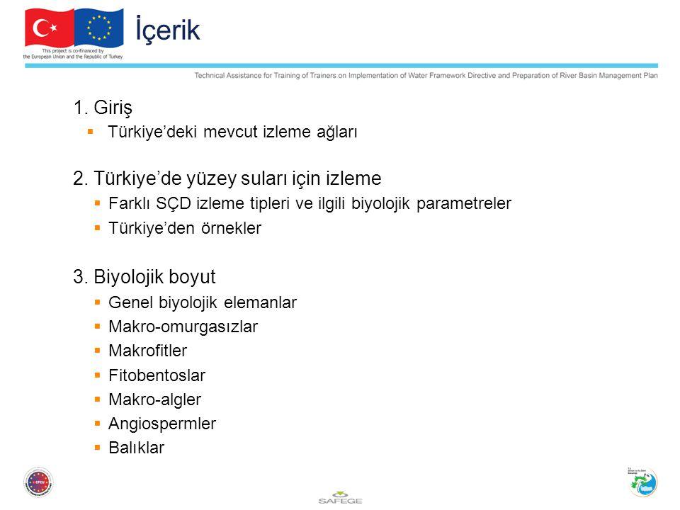 İçerik 1. Giriş  Türkiye'deki mevcut izleme ağları 2. Türkiye'de yüzey suları için izleme  Farklı SÇD izleme tipleri ve ilgili biyolojik parametrele