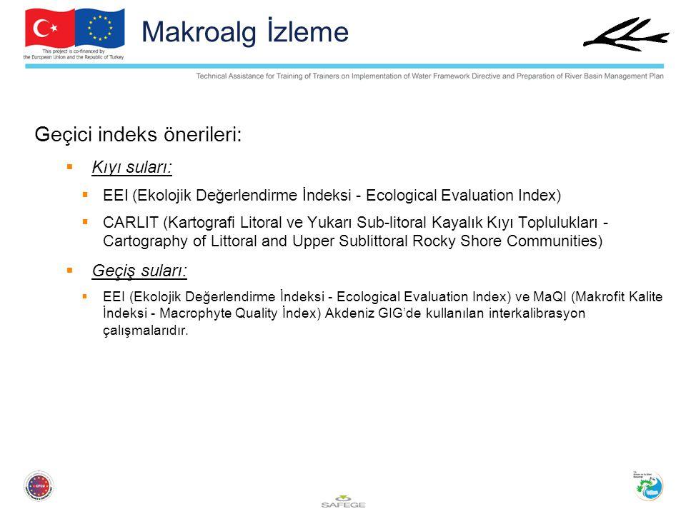 Geçici indeks önerileri:  Kıyı suları:  EEI (Ekolojik Değerlendirme İndeksi - Ecological Evaluation Index)  CARLIT (Kartografi Litoral ve Yukarı Su