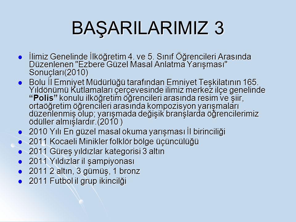 BAŞARILARIMIZ 3 İlimiz Genelinde İlköğretim 4. ve 5.