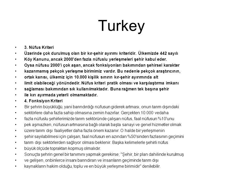 Turkey 3. Nüfus Kriteri Üzerinde çok durulmuş olan bir kır-şehir ayırımı kriteridir. Ülkemizde 442 sayılı Köy Kanunu, ancak 2000'den fazla nüfuslu yer