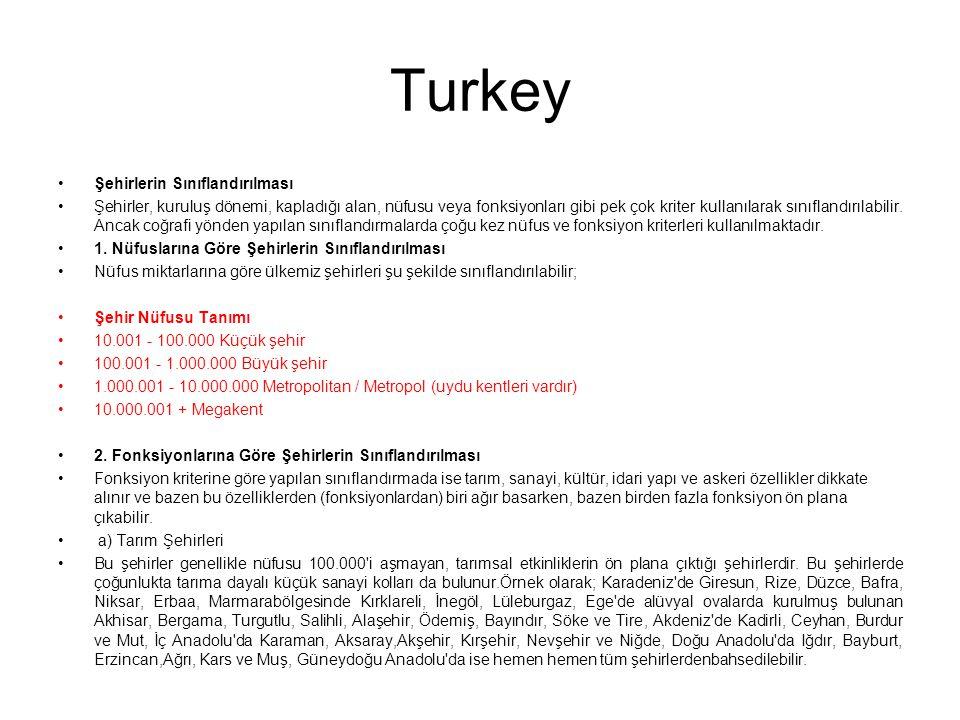 Turkey Şehirlerin Sınıflandırılması Şehirler, kuruluş dönemi, kapladığı alan, nüfusu veya fonksiyonları gibi pek çok kriter kullanılarak sınıflandırıl