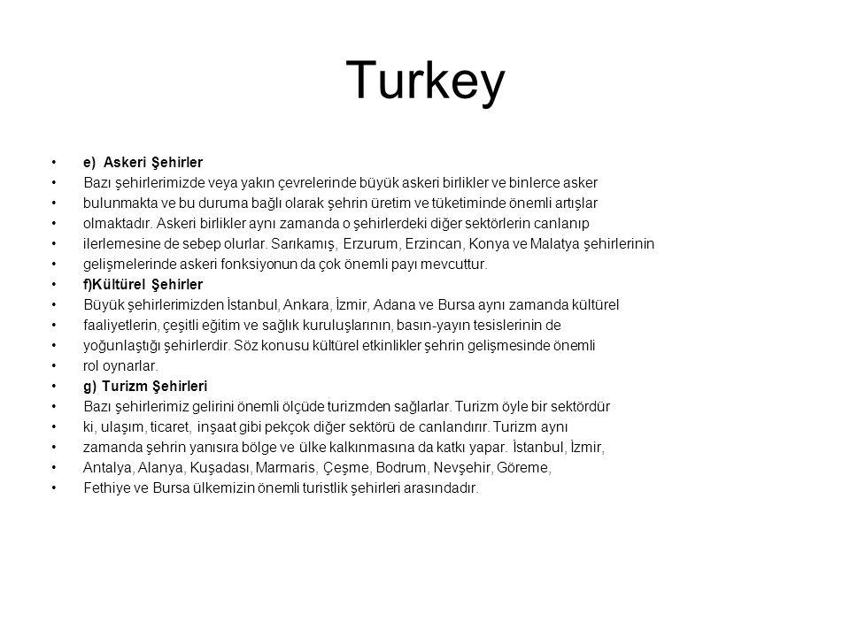 Turkey e) Askeri Şehirler Bazı şehirlerimizde veya yakın çevrelerinde büyük askeri birlikler ve binlerce asker bulunmakta ve bu duruma bağlı olarak şe