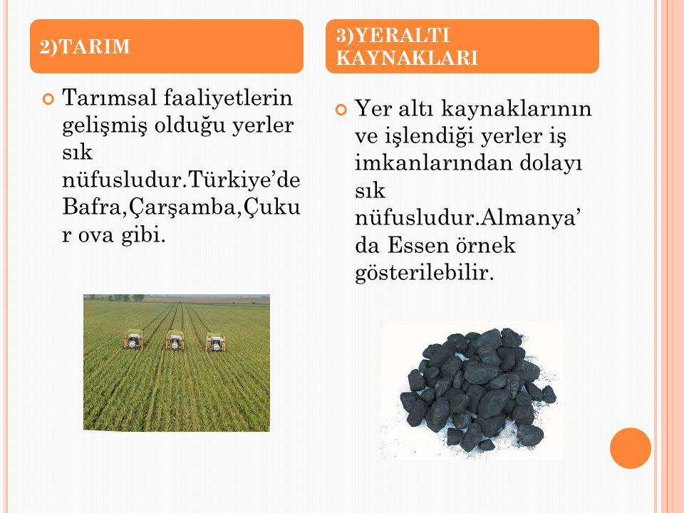 Tarımsal faaliyetlerin gelişmiş olduğu yerler sık nüfusludur.Türkiye'de Bafra,Çarşamba,Çuku r ova gibi. Yer altı kaynaklarının ve işlendiği yerler iş