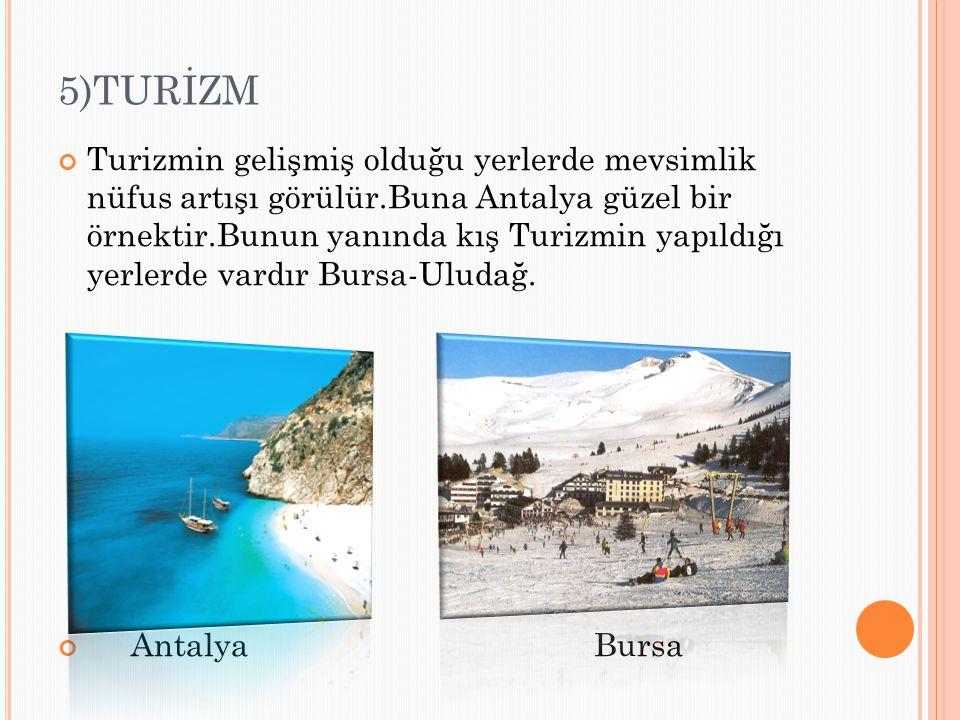 5)TURİZM Turizmin gelişmiş olduğu yerlerde mevsimlik nüfus artışı görülür.Buna Antalya güzel bir örnektir.Bunun yanında kış Turizmin yapıldığı yerlerd