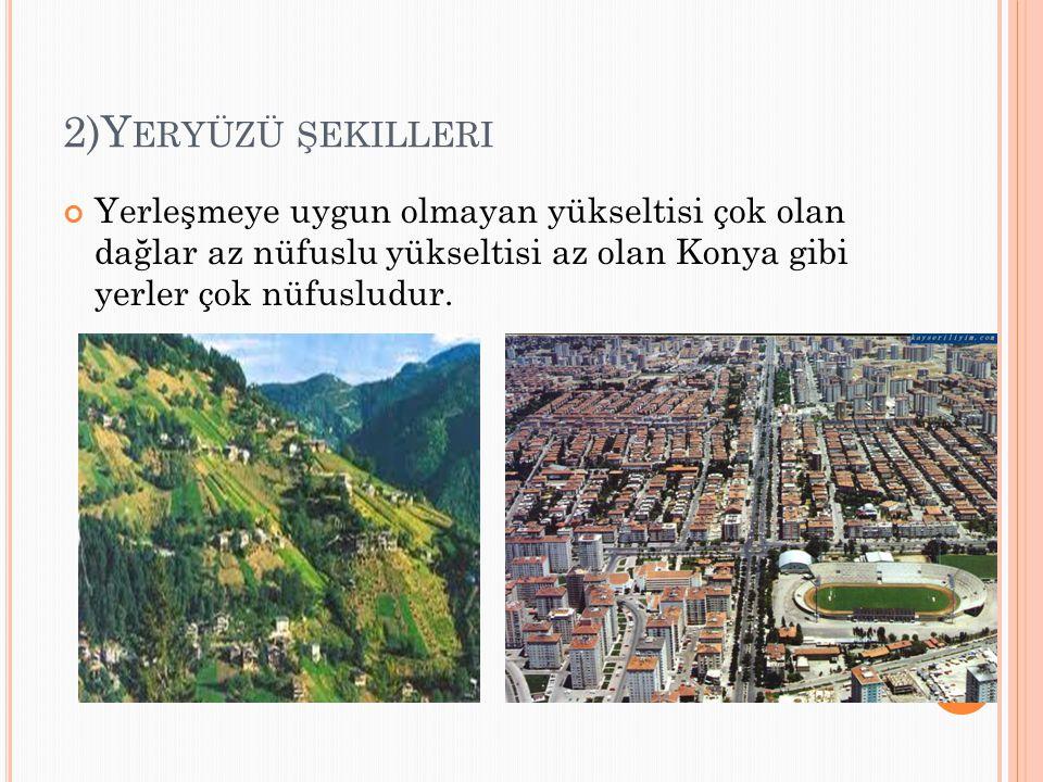 2)Y ERYÜZÜ ŞEKILLERI Yerleşmeye uygun olmayan yükseltisi çok olan dağlar az nüfuslu yükseltisi az olan Konya gibi yerler çok nüfusludur.