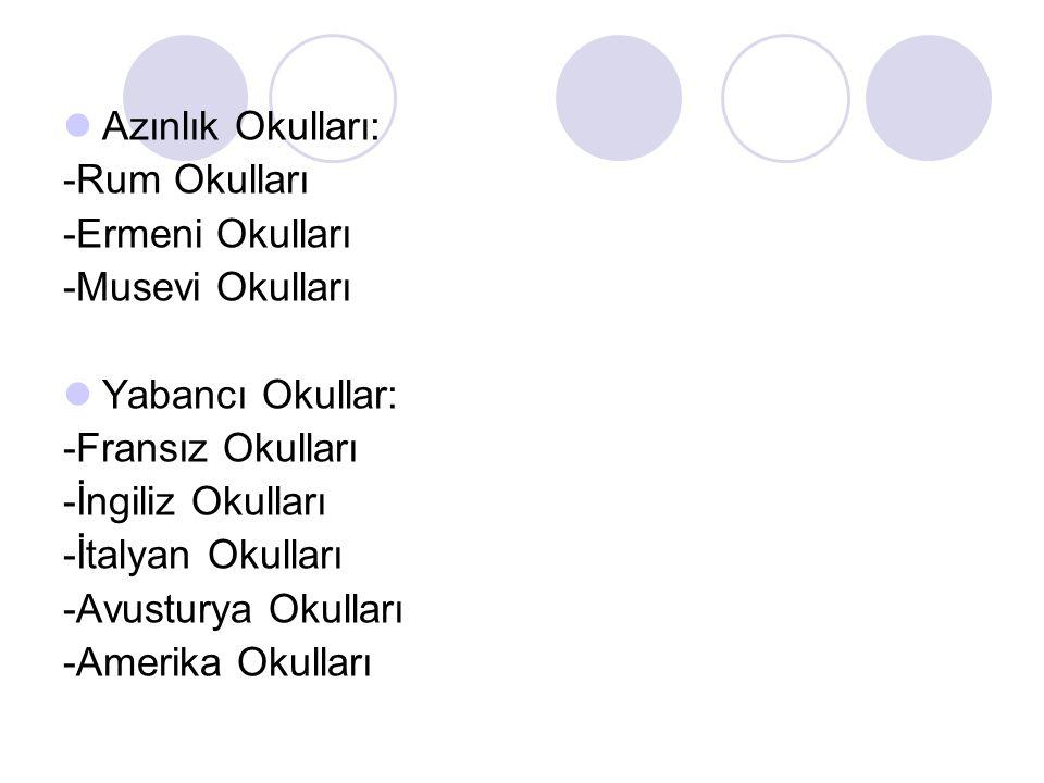 Azınlık Okulları: -Rum Okulları -Ermeni Okulları -Musevi Okulları Yabancı Okullar: -Fransız Okulları -İngiliz Okulları -İtalyan Okulları -Avusturya Ok