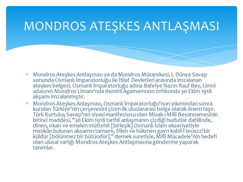  Mondros Ateşkes Antlaşmasının koşulları, aynı günlerde imzalanan Bulgaristan, Avusturya-Macaristan ve Almanya anlaşmalarıyla benzerlik gösterir.