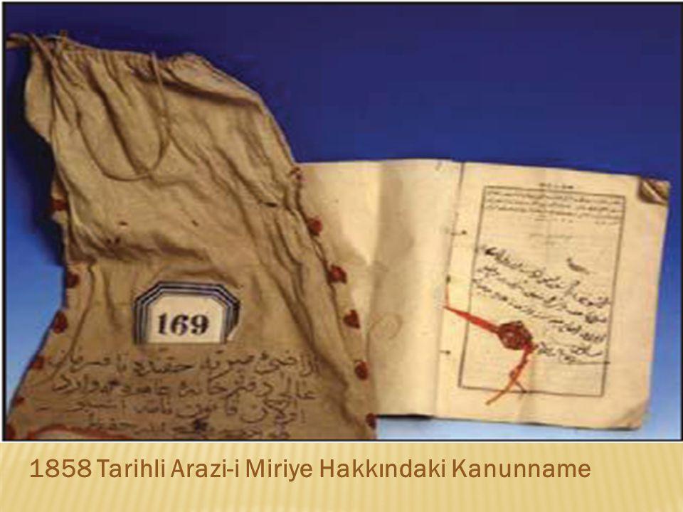 1858 Tarihli Arazi-i Miriye Hakkındaki Kanunname