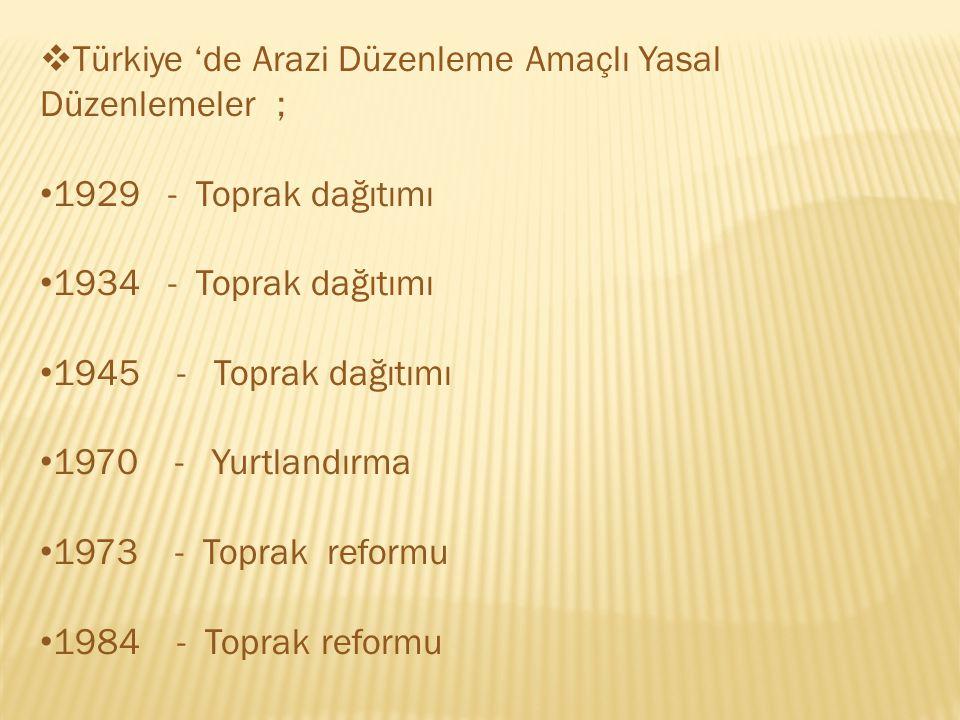  Türkiye 'de Arazi Düzenleme Amaçlı Yasal Düzenlemeler ; 1929 - Toprak dağıtımı 1934 - Toprak dağıtımı 1945 - Toprak dağıtımı 1970 - Yurtlandırma 1973 - Toprak reformu 1984 - Toprak reformu