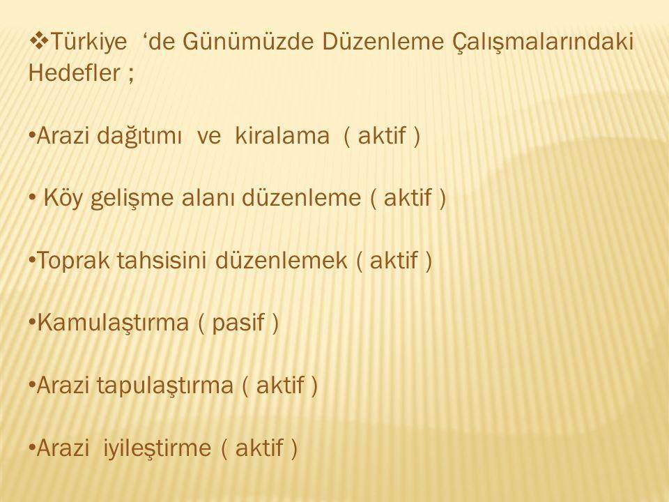  Türkiye 'de Günümüzde Düzenleme Çalışmalarındaki Hedefler ; Arazi dağıtımı ve kiralama ( aktif ) Köy gelişme alanı düzenleme ( aktif ) Toprak tahsisini düzenlemek ( aktif ) Kamulaştırma ( pasif ) Arazi tapulaştırma ( aktif ) Arazi iyileştirme ( aktif )