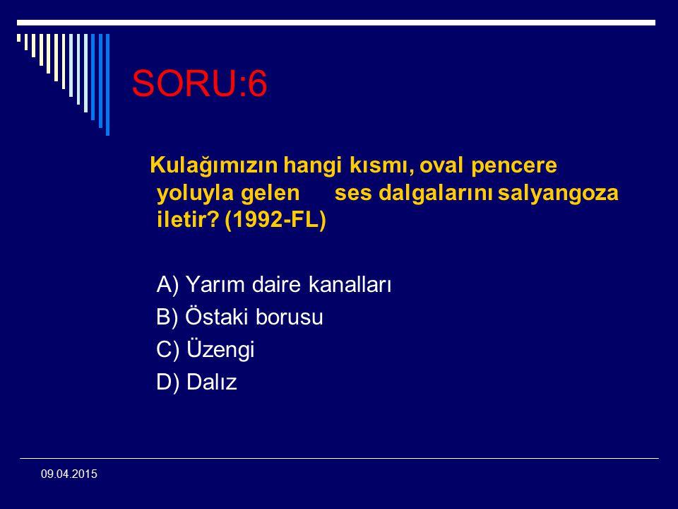09.04.2015 SORU:6 Kulağımızın hangi kısmı, oval pencere yoluyla gelenses dalgalarını salyangoza iletir? (1992-FL) A) Yarım daire kanalları B) Östaki b