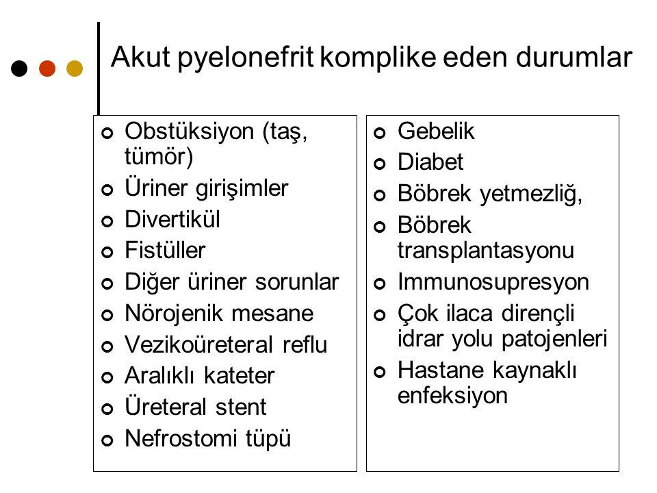 Akut pyelonefrit komplike eden durumlar Obstüksiyon (taş, tümör) Üriner girişimler Divertikül Fistüller Diğer üriner sorunlar Nörojenik mesane Vezikoü