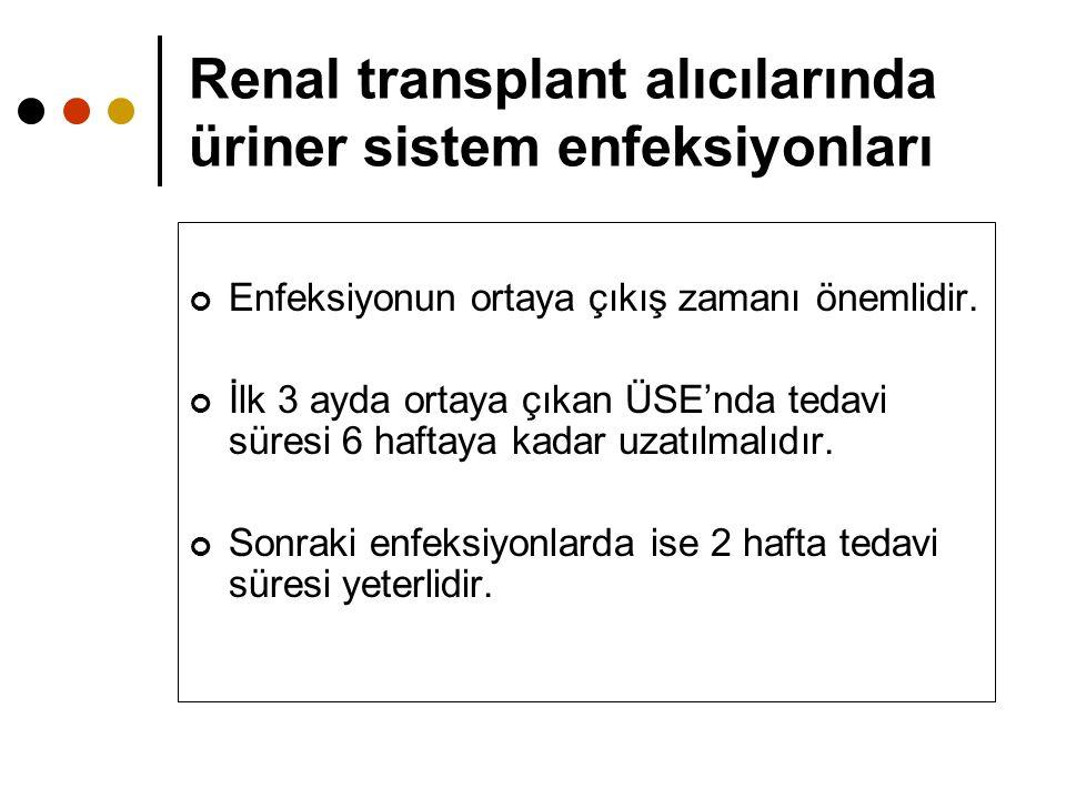 Renal transplant alıcılarında üriner sistem enfeksiyonları Enfeksiyonun ortaya çıkış zamanı önemlidir. İlk 3 ayda ortaya çıkan ÜSE'nda tedavi süresi 6