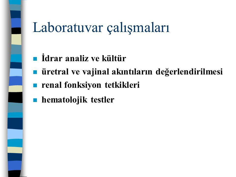 Laboratuvar çalışmaları n İdrar analiz ve kültür n üretral ve vajinal akıntıların değerlendirilmesi n renal fonksiyon tetkikleri n hematolojik testler