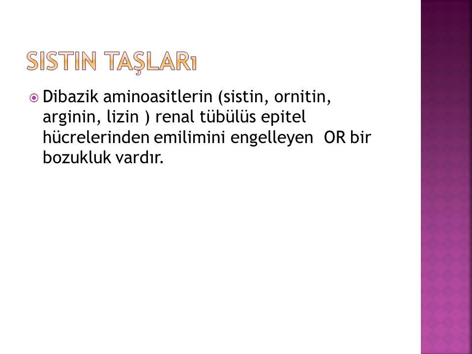  Dibazik aminoasitlerin (sistin, ornitin, arginin, lizin ) renal tübülüs epitel hücrelerinden emilimini engelleyen OR bir bozukluk vardır.