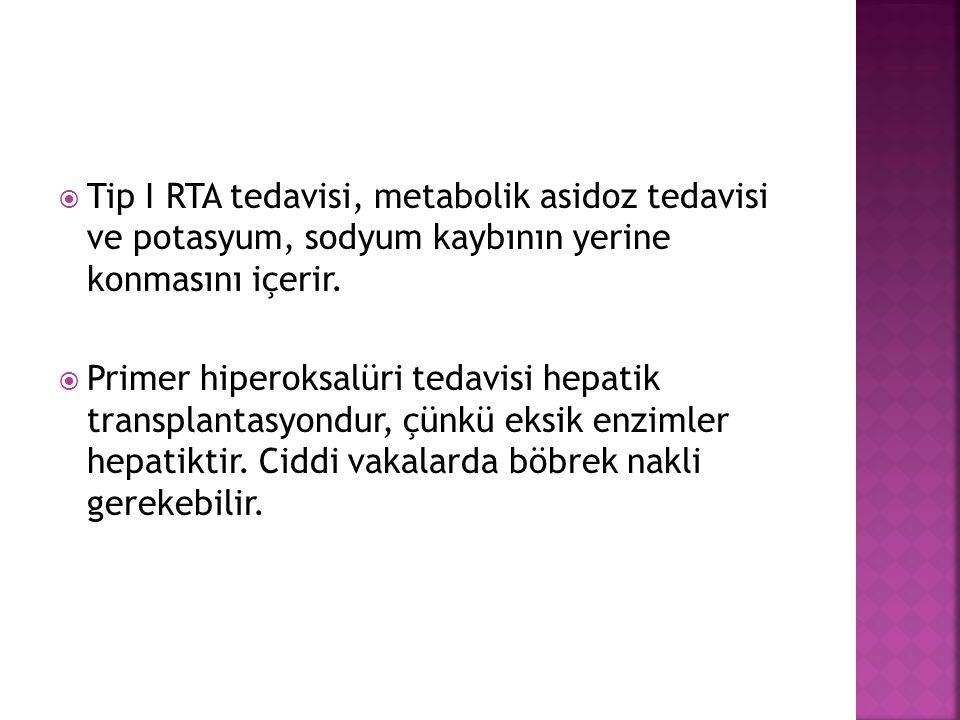  Tip I RTA tedavisi, metabolik asidoz tedavisi ve potasyum, sodyum kaybının yerine konmasını içerir.
