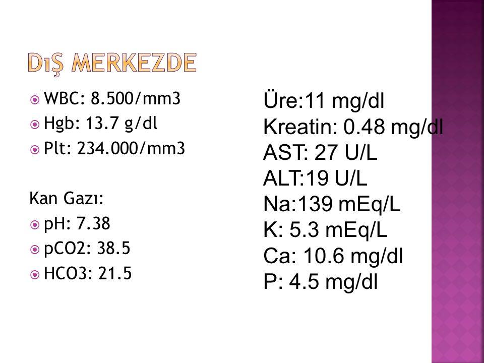  WBC: 8.500/mm3  Hgb: 13.7 g/dl  Plt: 234.000/mm3 Kan Gazı:  pH: 7.38  pCO2: 38.5  HCO3: 21.5 Üre:11 mg/dl Kreatin: 0.48 mg/dl AST: 27 U/L ALT:19 U/L Na:139 mEq/L K: 5.3 mEq/L Ca: 10.6 mg/dl P: 4.5 mg/dl