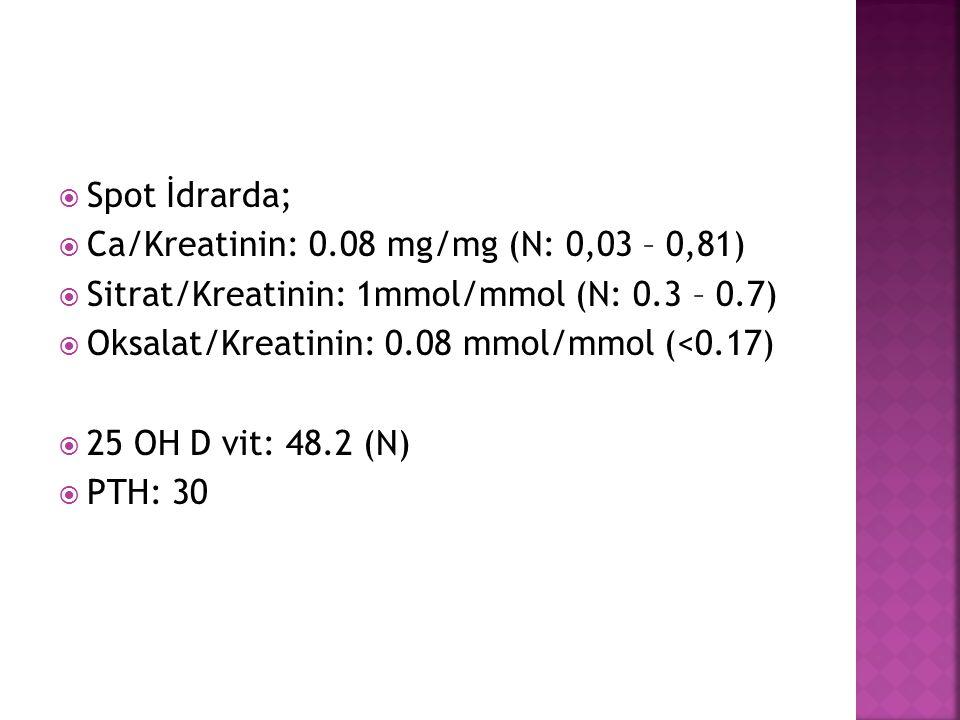  Spot İdrarda;  Ca/Kreatinin: 0.08 mg/mg (N: 0,03 – 0,81)  Sitrat/Kreatinin: 1mmol/mmol (N: 0.3 – 0.7)  Oksalat/Kreatinin: 0.08 mmol/mmol (<0.17)  25 OH D vit: 48.2 (N)  PTH: 30